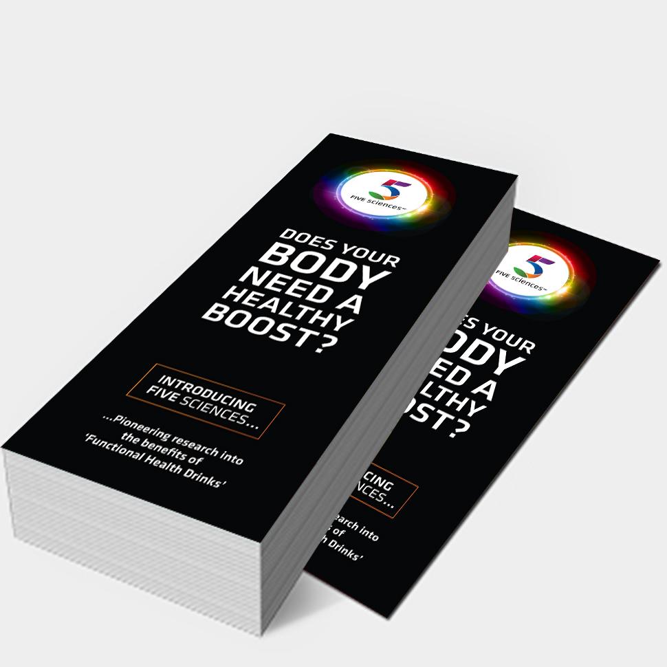 five sciences dl leaflet display, designwest, ireland