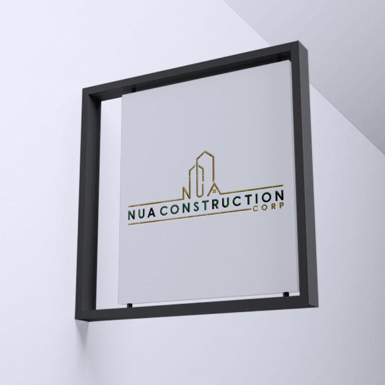 Nua Construction Corp - Logo Design - Sign