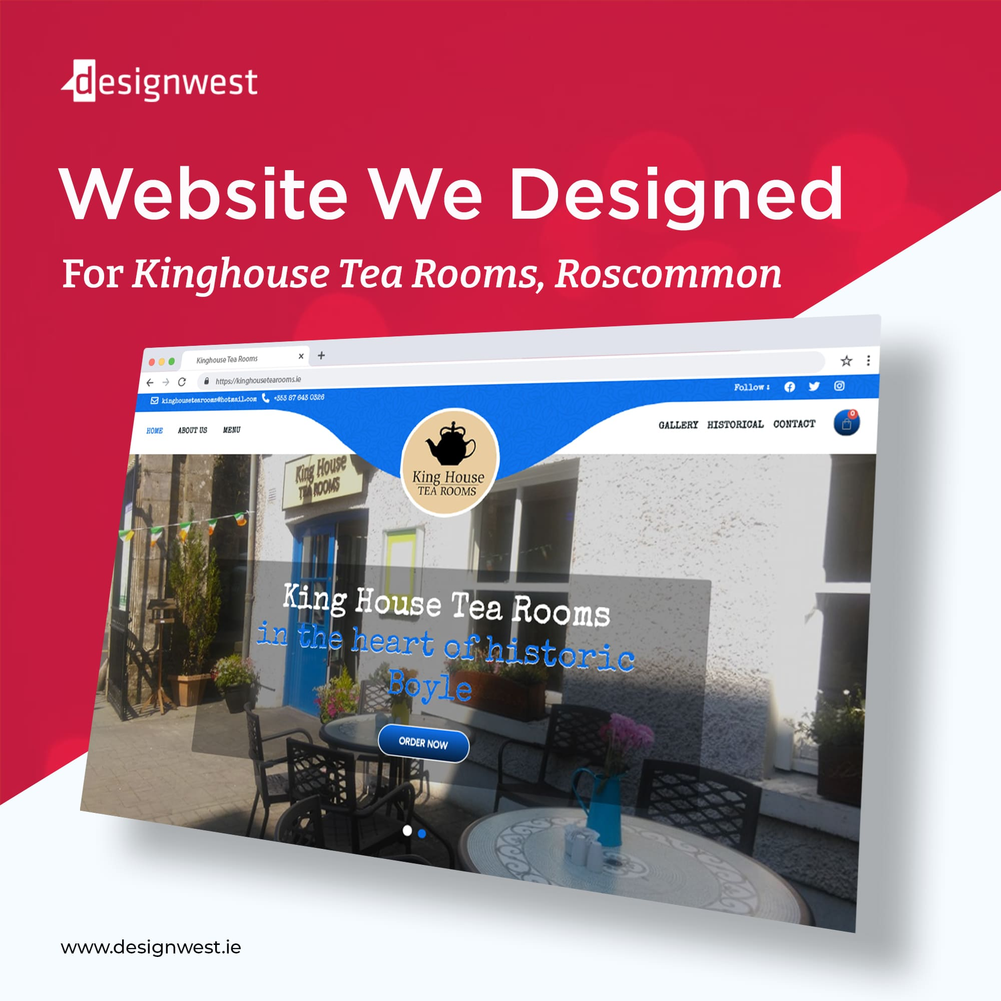 Latest Web Design in Roscommon - Impressive King House Tea Rooms, 2021